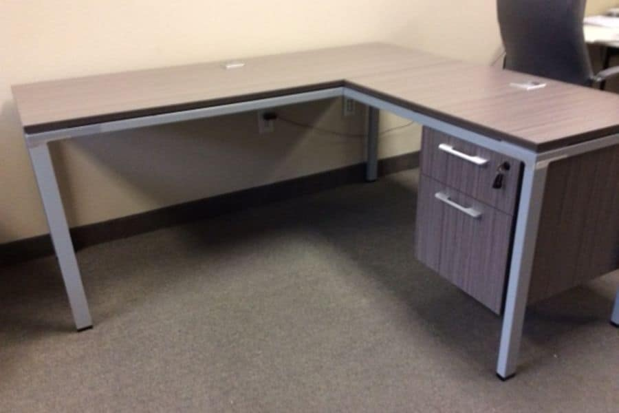 Used Metal L-Shape Desk